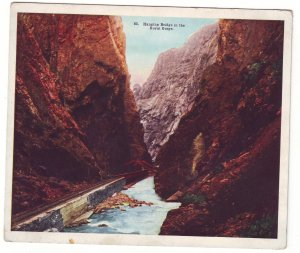P1522 old unused postcard railroad hanging bridge royal gorge colorado