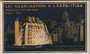 PARIS ; 1931 Exposition Coloniale Internationale at night ; 12 postcard booklet