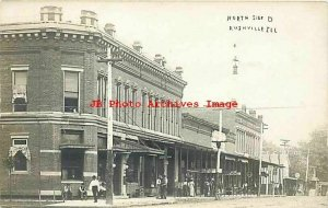 IL, Rushville, Illinois, RPPC, Business Section, North Side Square, Post Office