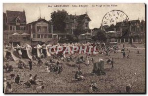 Old Postcard Arcachon Cote D & # 39Argent The Beach And Villas
