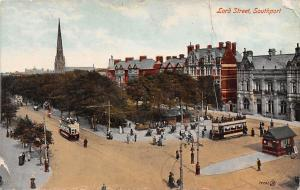 England Southport, Lord Street, tram, railroad railway, animated 1919