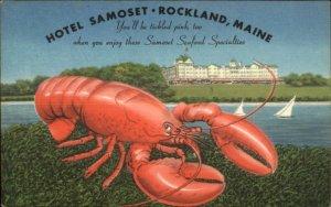 Rockland ME Lobster & Samoset Hotel GREAT LINEN Postcard