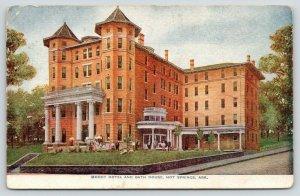 Hot Springs Arkansas~Moody Hotel & Bath House~Guests on Lawn~c1910 Postcard