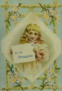 1870's-80's Embossed Shuler's German Cough Remedy Child Long Hair Blossoms P104