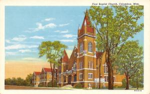 Columbus Mississippi~First Baptist Church~Fountain~1957 Postcard