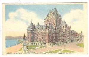 Champlain Monument & Chateau Frontenac Hotel, Quebec, Canada, 1930-1940s