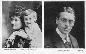 Stage Actress Winifred Emery & Baby Son~Actor Husband Cyril Maude~1905 RPPC