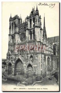 Old Postcard Amiens With Fleche