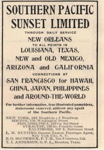 1903 Southern Pacific Sunset Limited Passenger Train Original Print Ad 2T1-47
