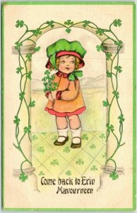 1915 ST. PATRICK'S DAY Greetings Postcard Come Back to Erin Mavourneen
