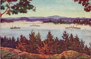 Esquimalt Harbour Victoria BC British Naval Station Ships Semryn Postcard G7