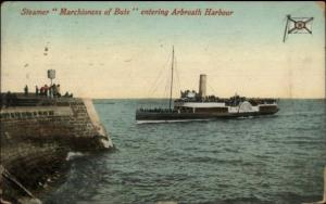 Arbroath Harbour Scotland Steamer Ship Marchioness of Bute Used Postage Due PC