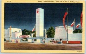 1940s STATE FAIR OF TEXAS Dallas Postcard Parry Avenue Entrance Curteich Linen