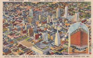 Missouri Kansas City Aerial View & Hotel President Curteich
