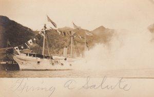 RP: SAMOA , 00-10s ; Ship firing Broadside salute