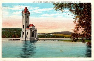 New York Cooperstown Otsego Lake Kingfisher Tower 1926 Curteich