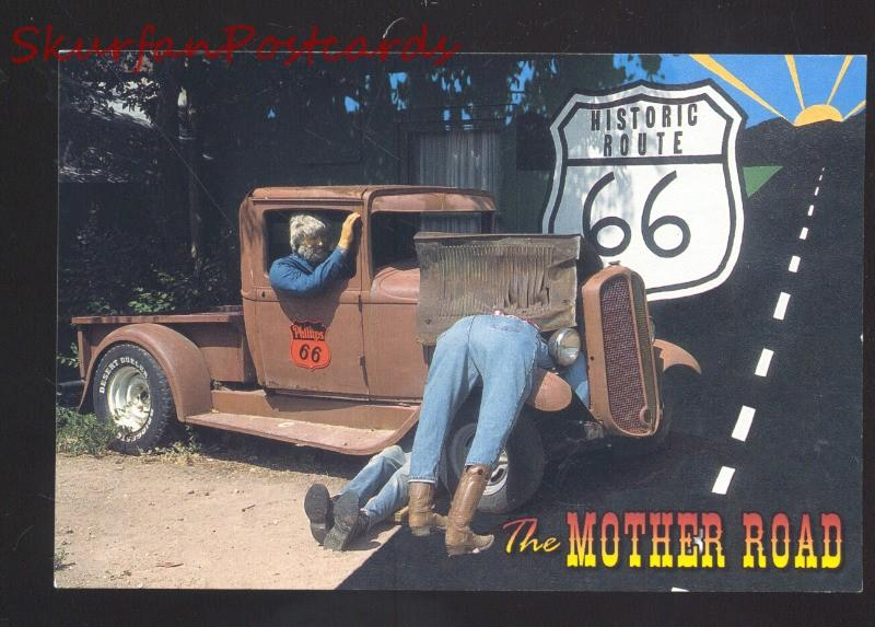 HISTORIC ROUTE 66 THE MOTHER ROAD ANTIQUE PHILIPPS 66 PICKUP TRUCK POSTCARD