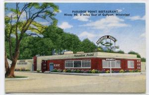 Paradise Point Restaurant Highway 90 Gulfport Mississippi linen postcard