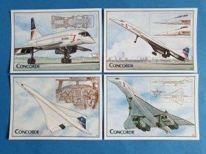 Set of 4 Concorde Art Postcards by Amber Postcards, Artist Derek Stone