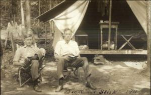 Camping Glamping Dick & Stick 1911 Milford PA on Back Real Photo Postcard
