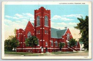 Fremont Nebraska~Lutheran Church Corner~House~1939 Linen Postcard