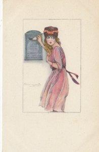 Art Deco ; BOMPARD ; Woman mails a letter , 1910-20s