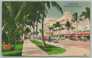 Miami Beach Florida~Lincoln Road~Downtown Shopping~Classic Cars Parked~1940s