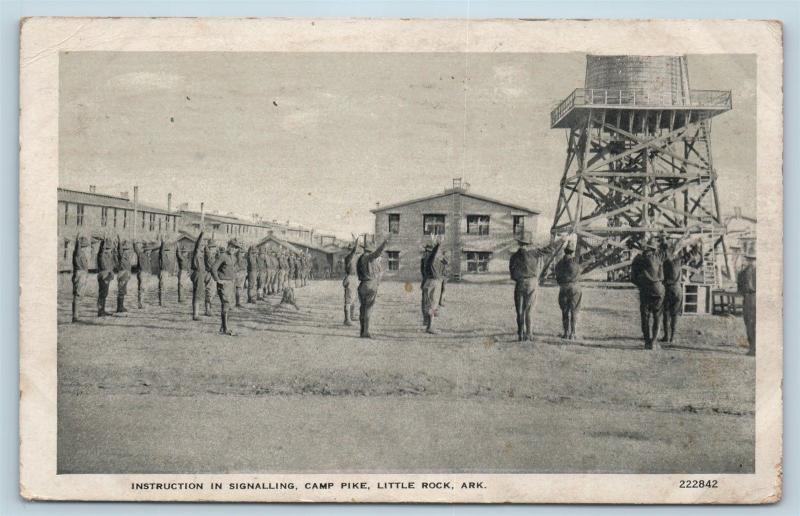 Postcard AR Little Rock Camp Pike Instruction in Signaling 1918 M03