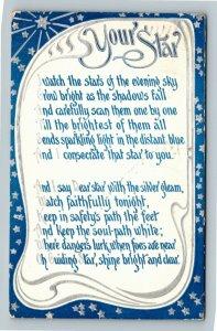 Star Greeting - Blue Scroll Poem  Your Bright Star Vintage Postcard