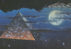 Space Travel As Egyptian Pyramid Astronomy Painting Postcard