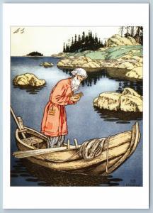 Tale of the Fisherman and Gold Fish Pushkin tale by Bilibin Сказки Postcard