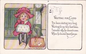 Valentine's Day Young Girl Waiting For Cupid 1917 Signed Evelyn von Hartmann