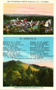 North Carolina Ashville Picturesque View At Sunset and Poem