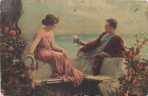 Lovers romantic idyl vintage postcard