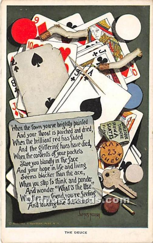Old Vintage Gambling Postcard Post Card The Deuce Unused