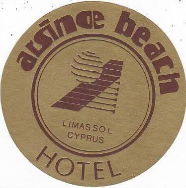 CYPRUS LIMASSOL ARSINOE BEACH HOTEL VINTAGE LUGGAGE LABEL