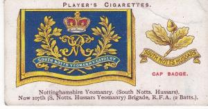 Cigarette Cards Player's Drum Banners & Cap Badges No 35 Nottinghamshire