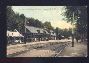 LAXEY ISLE OF MAN ENGLAND ELECTRIC RAILWAY STATION RAILROAD DEPOT OLD POSTCARD