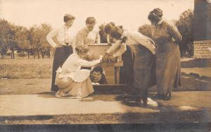 Creston Iowa~Minnie Sends Pic~Bunch of School Teachers~Clowning Around~1912 RPPC