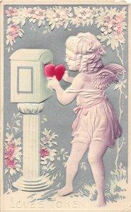 G14/ Valentine's Day Love Holiday Postcard c1910 Cupid Mailbox Heart 15
