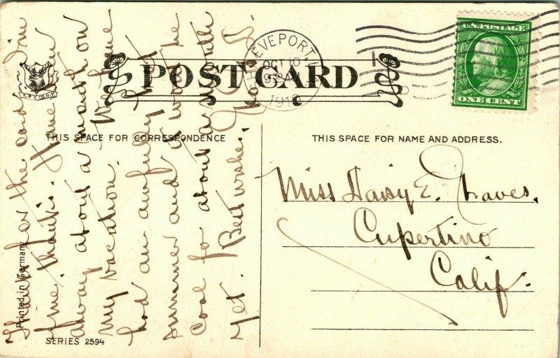 Vtg Postcard 1910 Shreveport, Louisiana Home on Creek w Foot Bridge