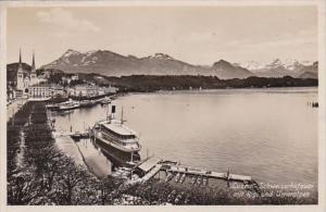 Switzerland Luzern Schweizerhofquai mit Rigi und Urneralpen 1935 Photo