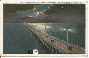 Vintage Night Scene Gandy Bridge Connecting Saint Petersburg & Tampa Florida