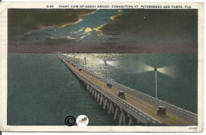 Vintage Night Scene Gandy Bridge Connecting Saint Petersburg & Tampa Florida