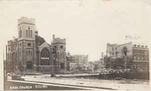 RP: Cyclone Damage , REGINA , Sask., Canada , 1912 ; Knox Church & YMCA