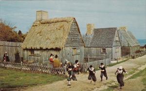 Childeren In Pilgrim Costume Romp In the Street Of The Replica Pligrim Villag...