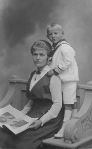 RPPC German Mother & Son (Violinist in Book) Lagillier (Plauen (Vgtl) RPPC 1916