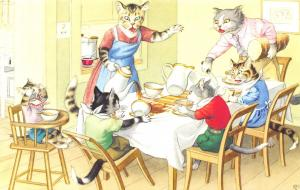 Fantasy Dressed Mainzer Cats~Dinner Table~Spilled Tea~Max Kunzli~#​4850 Turkey