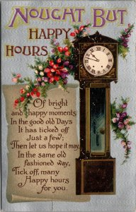 Nought But Happy Hours, Poem, Grandfather Clock, 1900-10s - VINTAGE POSTCARD