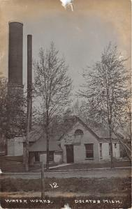 Decatur Michigan~Water Works Building & Smoke Stacks~Unpaved Street~c1910 RPPC